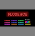 neon name of florence city vector image vector image