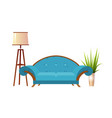 realistic red sofa with floor lamp and flowerpot vector image vector image