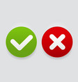 red and green check mark icons button vector image vector image