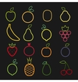 set flat fruits icons drawing with lines on vector image vector image