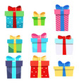 set nine gift boxes holiday present vector image