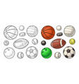 set sport balls icons engraving color vector image