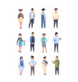set young asian men women group wearing casual vector image vector image