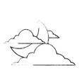sky night cloud half moon nature weather vector image