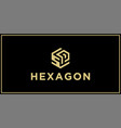 sp hexagon logo design inspiration vector image vector image