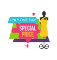 special price only one day at female boutique vector image