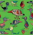 strange birds on the background of leaves vector image