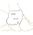 Sudan hand-drawn sketch map vector image