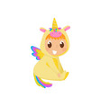 sweet baby in yellow unicorn costume with wings vector image vector image