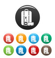 travel bag lunch icons set color vector image vector image