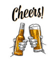 two hands holding and clinking with beer glasses vector image vector image