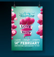 valentines day love party flyer design vector image vector image