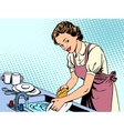 Woman washing dishes housewife housework comfort vector image vector image