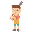 young caucasian boy playing baseball vector image vector image