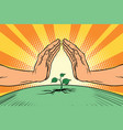 human hands protecting a green sprout environment vector image