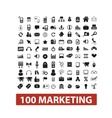 100 marketing icons set vector image