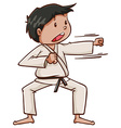 A plain drawing of a martial arts artist vector image vector image