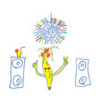 banana party handdrawn night club with music fun vector image