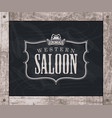 banner with cowboy hat and words western saloon vector image vector image