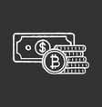 bitcoin coins stack and dollar banknote chalk icon vector image