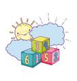 blocks numbers toys with sun kawaii vector image vector image