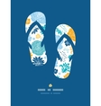 Blue and yellow flower silhouettes flip flops