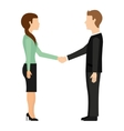 businessman and businesswoman handshake isolated vector image