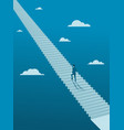 businessman walking up on endless stair vector image vector image