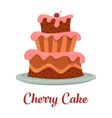 Cake with cream food bakery or dessert logo vector image vector image