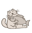 cartoon cat holds big fish vector image vector image