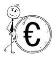 cartoon of smiling business man leaning on large vector image vector image
