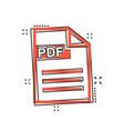cartoon pdf download icon in comic style pdf vector image vector image