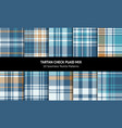 check plaid pattern set turquoise blue brown vector image vector image