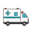 color crayon stripe cartoon ambulance truck with vector image vector image