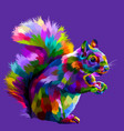 colorful squirrel on pop art vector image vector image