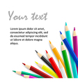 Concept idea with colorful pencils as corner frame vector image