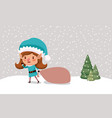cute girl santa helper with gifts sack vector image