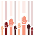 donate icon with hand and heart set in colorful vector image