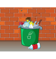 Dustbin in front of a wall vector image