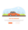 easy car insurance service landing page with place vector image vector image