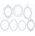 Elegant Ornate Oval Doodle Frames vector image