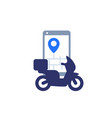 food delivery icon with scooter and phone vector image