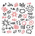 funny cartoon arrows bubbles and circles sethand vector image