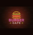 glowing neon signboard burger cafe on brick wall vector image