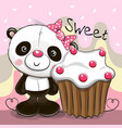 greeting card panda with cake vector image