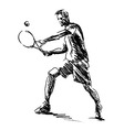 Hand sketch tennis player vector image vector image