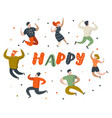 happy flat people characters jumping dancing vector image vector image