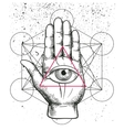 Hipster with sacred geometry hand vector image vector image