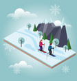 isometric man and woman skiing cross country vector image vector image