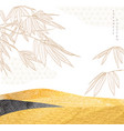 japanese background with bamboo leaves line vector image